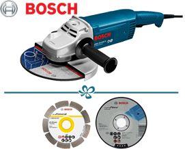 BOSCH-ის კუთხსახეხი +საჩუქრები GWS 20-230 H (0601850107) - 2 წლიანი გარანტიით