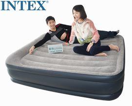 გასაბერი ლეიბი Intex Luftbett Deluxe Pillow grey-blue Queen