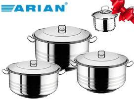 159 ლარად ქვაბების ნაკრები Arian Deep Cooking Pot 6 pcs Set  + საჩუქრად სარძევე მინის თავსახურით