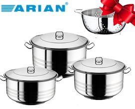 249 ლარად ქვაბების ნაკრები Arian Deep Cooking Pot 6 pcs Set + საჩუქრად მეტალის საწური